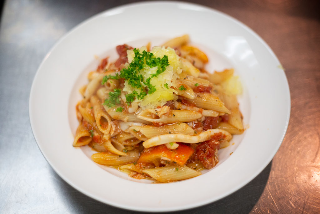 Delicious penne pasta.